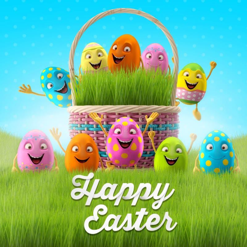 Le uova di Pasqua felici, 3D l'insieme allegro, serie della molla, fumetto felice obietta, insegna di pasqua, cartolina royalty illustrazione gratis