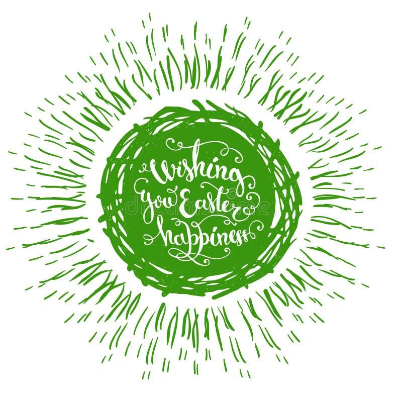 Le uova di Pasqua verdi isolate disegnate a mano annidano con testo e lo sprazzo di sole su un fondo bianco royalty illustrazione gratis