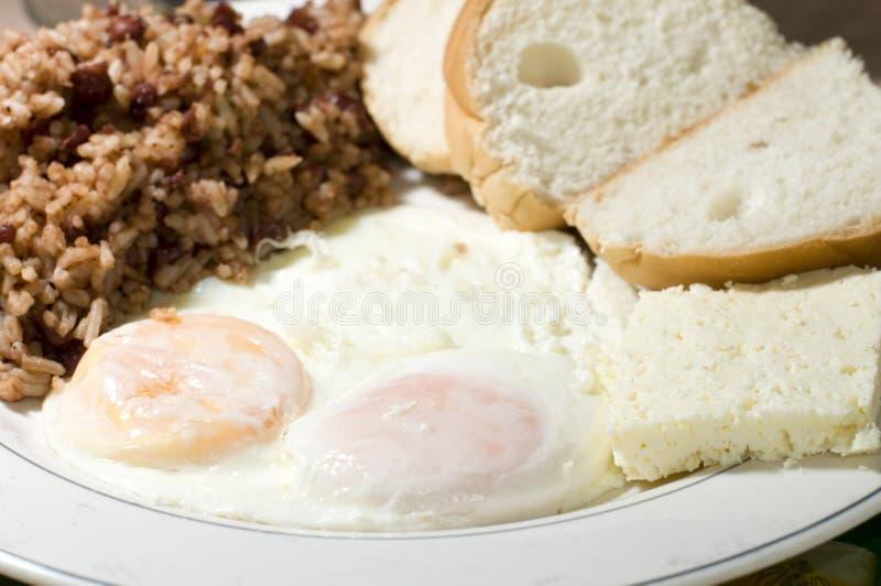 Le uova fritte di stile nicaraguese fanno colazione con riso ed il fagiolo Gallo p immagini stock