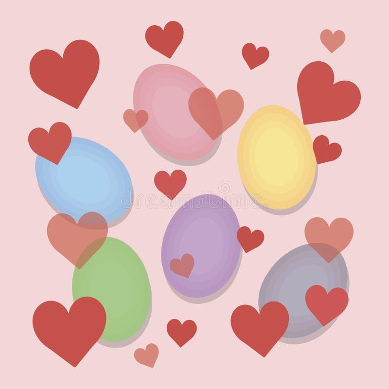 Le uova luminose multicolori di pasqua con i piccoli cuori rossi su un fondo delicato di rosa pastello vector la cartolina illustrazione vettoriale