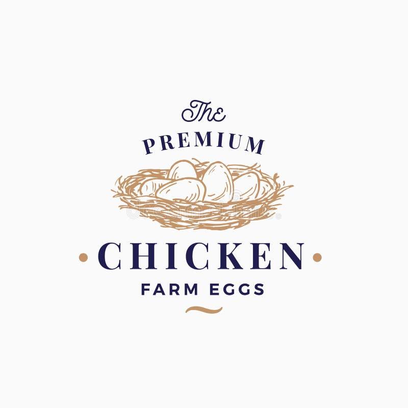 Le uova premio del pollo coltivano il segno, il simbolo o Logo Template astratto di vettore Nido disegnato a mano di schizzo con  illustrazione di stock
