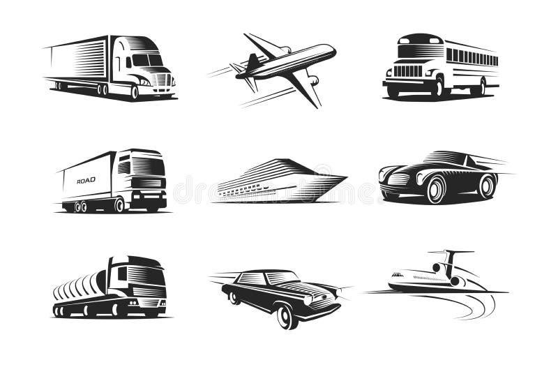 Le véhicule dactylographie l'ensemble de symboles monochrome illustration de vecteur