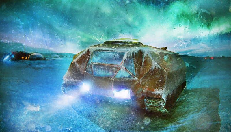 Le véhicule de chenille et la station spatiale futuristes sur la glace perdue signalent l'art apocalyptique de concept de planète photos stock