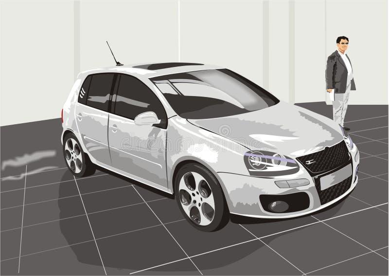 Le véhicule et l'acheteur illustration stock