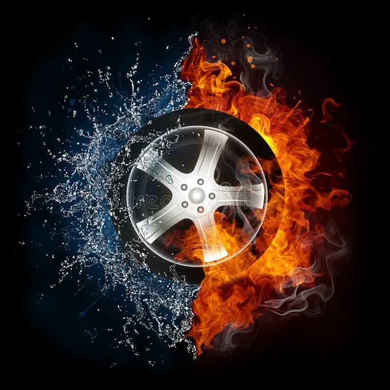 Le véhicule roulent dedans la flamme et l'eau illustration de vecteur