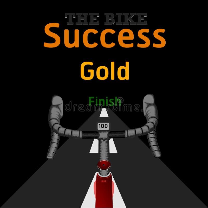 Le vélo sur les femmes de mem de ruelle de but de bicyclette de défi de succès d'or de finition de route montent l'illustration e illustration libre de droits