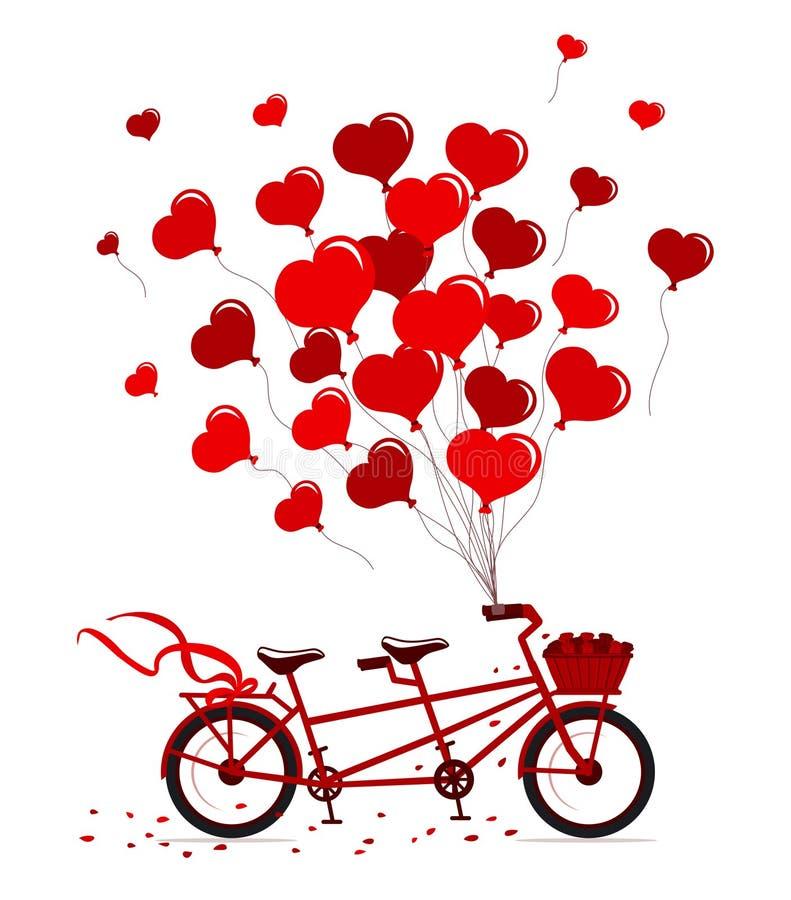 Le vélo tandem avec des coeurs monte en ballon dans des couleurs rouges d'isolement illustration de vecteur