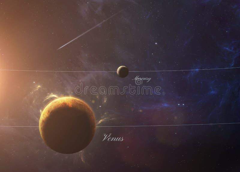 Le Vénus avec Mercury de l'espace les montrant à tous photo stock