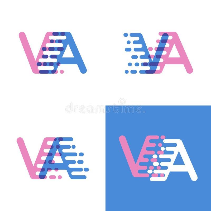 Le VA marque avec des lettres le logo avec le rose et doucement le bleu de vitesse d'accent doucement illustration libre de droits