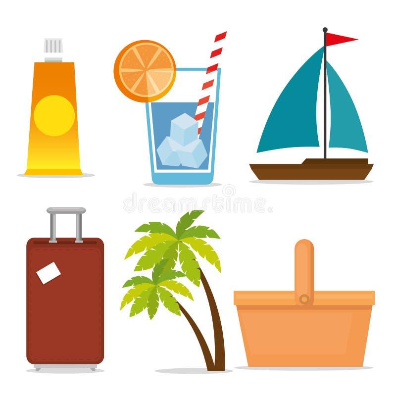 Le vacanze estive hanno messo le icone illustrazione di stock