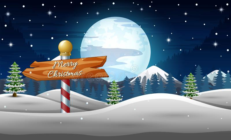 Le vacanze invernali abbelliscono con il segno di legno alla notte illustrazione di stock