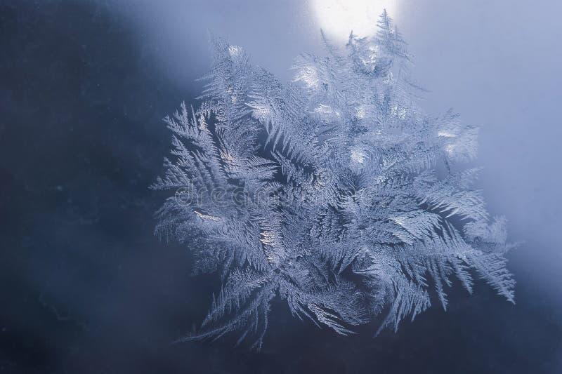 Le vacanze invernali condiscono il concetto del mondo di fantasia: La macro immagine dei cristalli di ghiaccio naturale modella s fotografia stock