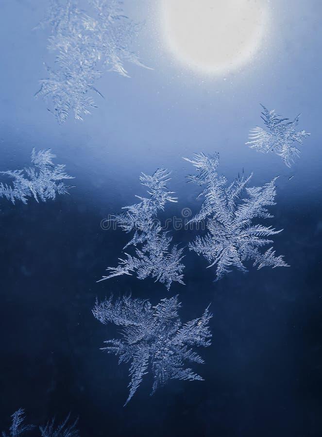 Le vacanze invernali condiscono il concetto del mondo di fantasia: La macro immagine dei cristalli di ghiaccio naturale modella s immagine stock libera da diritti
