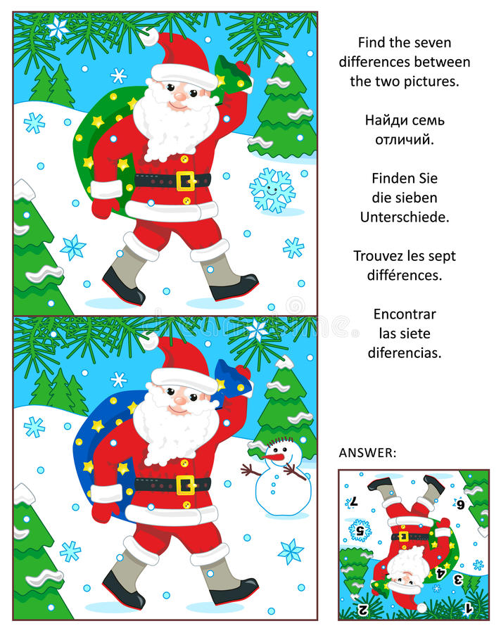 Le vacanze invernali trovano il puzzle dell'immagine di differenze con Santa Klaus illustrazione vettoriale