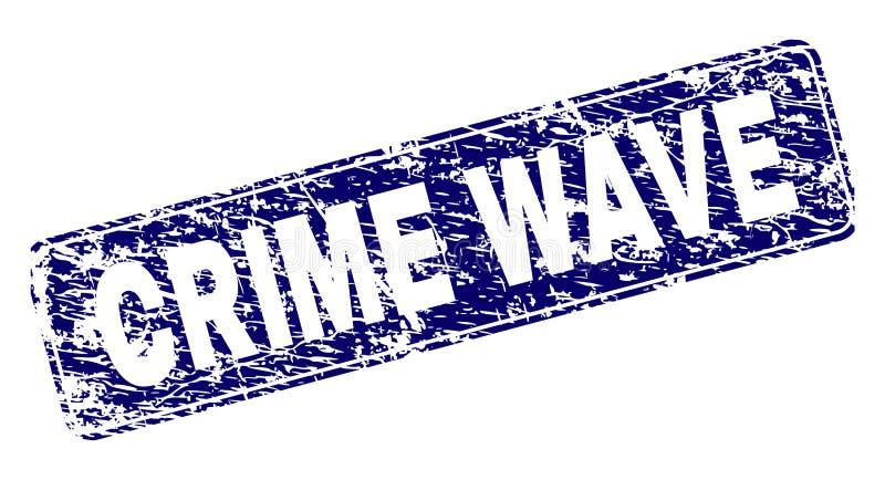 Le VAGUE DE CRIMINALITÉ rayé a encadré le timbre arrondi de rectangle illustration libre de droits