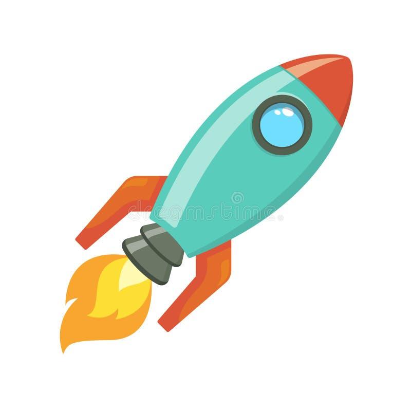 Le vaisseau spatial de fusée de bande dessinée enlèvent, dirigent l'illustration Rétro icône simple de vaisseau spatial illustration stock