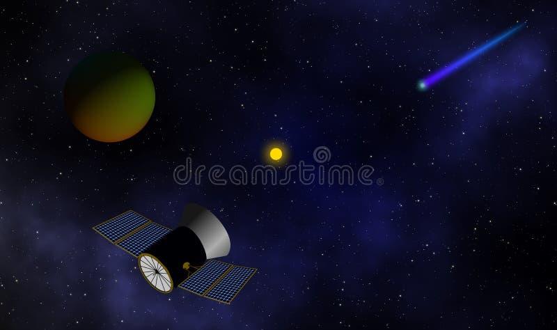 Le vaisseau spatial va explorer le fond de conception d'illustration d'univers illustration de vecteur