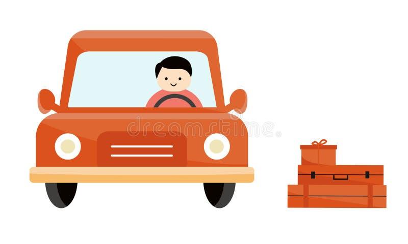 Le valigie e una scatola sono accanto all'automobile Un uomo che si siede dietro la ruota di un'automobile Il tipo conduce l'auto royalty illustrazione gratis