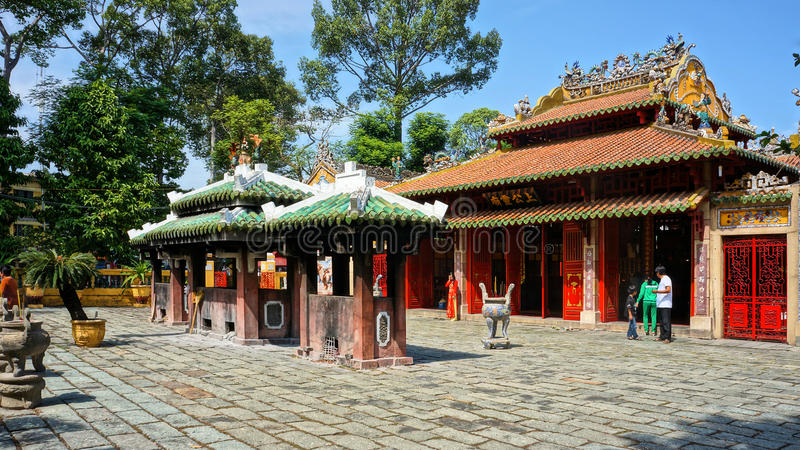 Le Van Duyet temple, history worship place. HO CHI MINH CITY, VIET NAM- JAN 1: Amazing panorama of Le Van Duyet temple at Sai Gon, with ancient architect, nice stock image