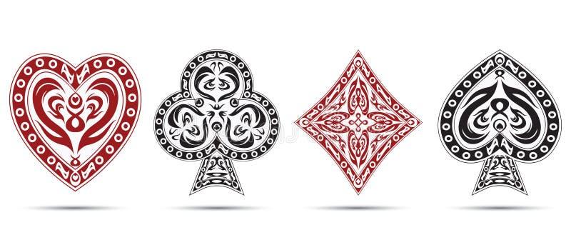 Le vanghe, cuori, diamanti, bastona i simboli delle carte della mazza isolati su fondo bianco illustrazione vettoriale