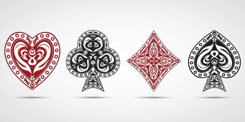 Le vanghe, cuori, diamanti, bastona il fondo di grey di simboli delle carte della mazza illustrazione vettoriale