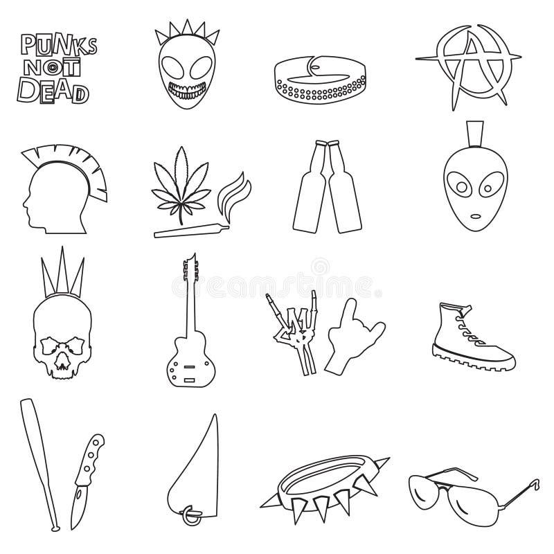 Le varie icone punk nere del profilo hanno messo eps10 illustrazione vettoriale