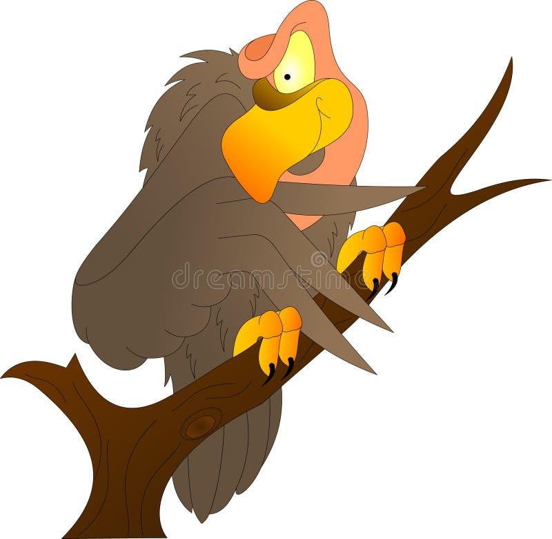 Le vautour se repose sur une branche recherchant la proie illustration de vecteur