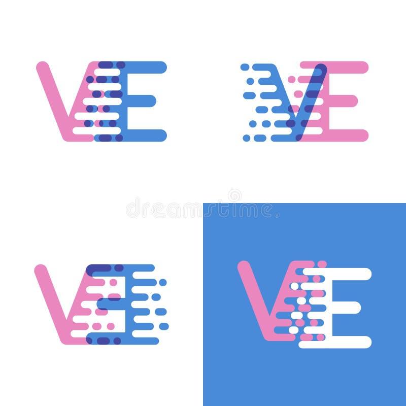 Le VE marque avec des lettres le logo avec le rose et doucement le bleu de vitesse d'accent doucement illustration stock