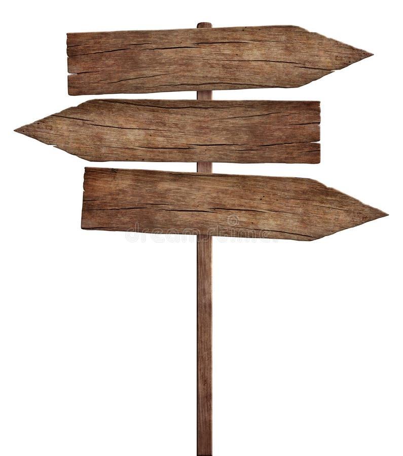 Le vecchie frecce di legno stagionate firmano - il cartello triplo fotografia stock