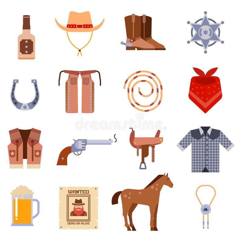 Le vecchie progettazioni occidentali americane d'annata firmano e le icone di vettore del cowboy dei grafici illustrazione vettoriale