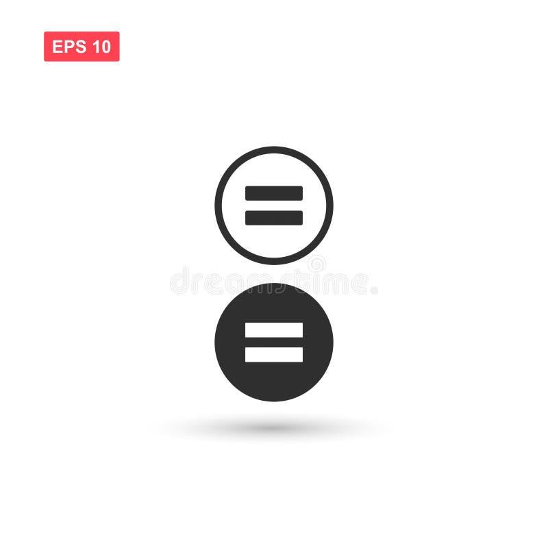 Le vecteur égal d'icône de maths a isolé 3 illustration stock
