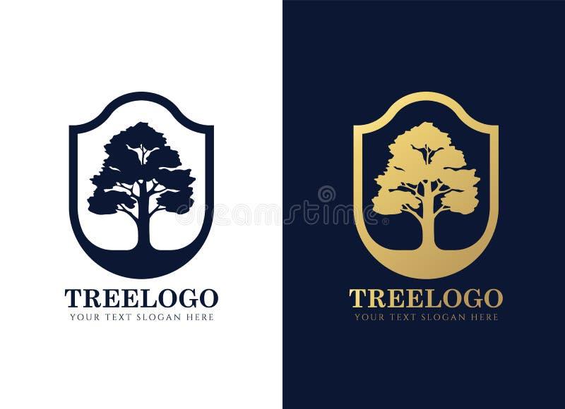 Le vecteur élégant de cadre d'or et de bouclier d'arbre de connexion bleu-foncé de logo conçoivent illustration libre de droits