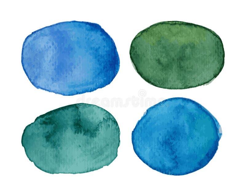 Le vecteur éponge avec l'effet d'aquarelle dans la palette verte et bleue illustration de vecteur