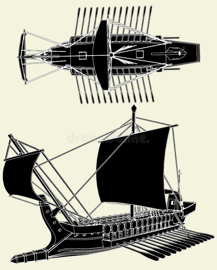 Le vecteur 01 de bateau du grec ancien illustration de vecteur