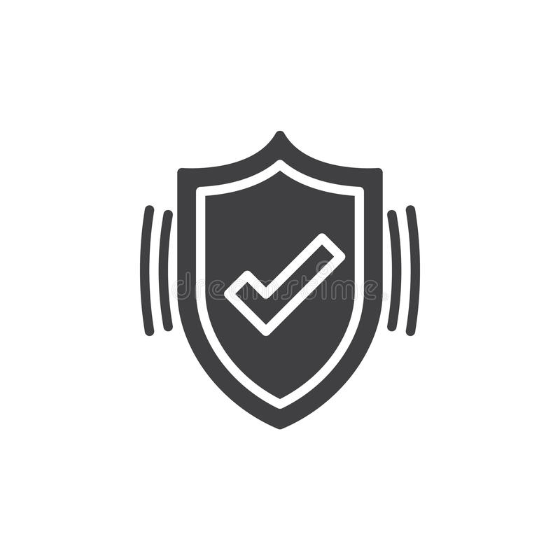 Le vecteur actif d'icône de protection, bouclier a rempli signe plat, pictogramme solide d'isolement sur le blanc illustration de vecteur