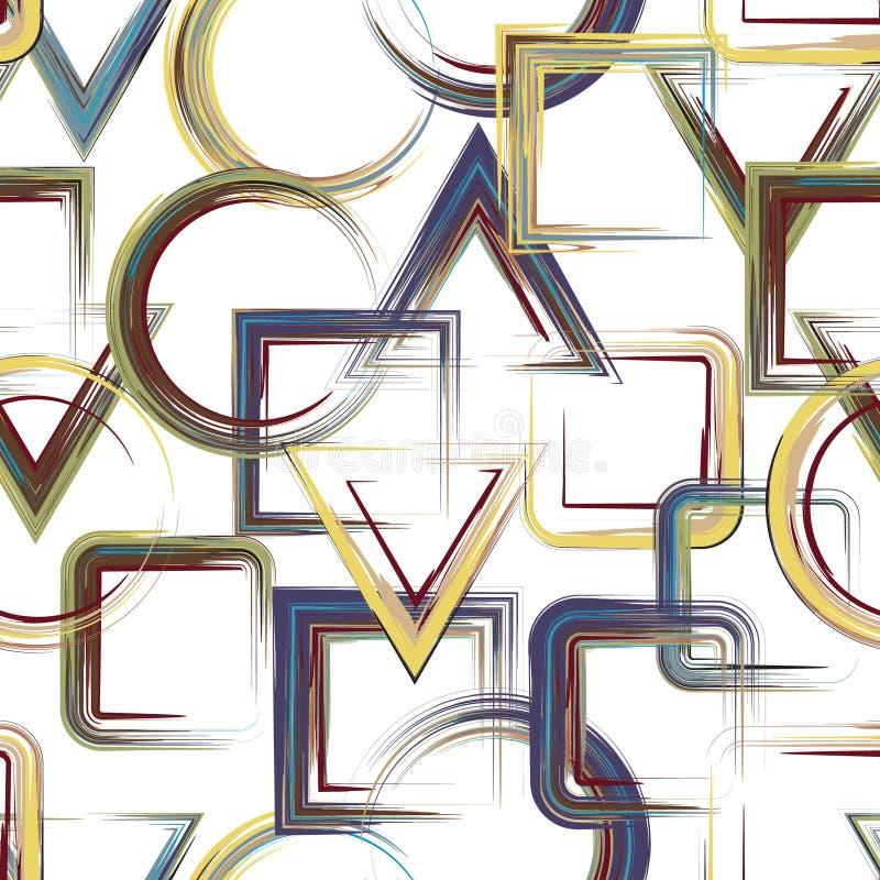 Le vecteur ajuste la configuration Fond géométrique abstrait de modèle avec les places peintes impétueuses illustration de vecteur