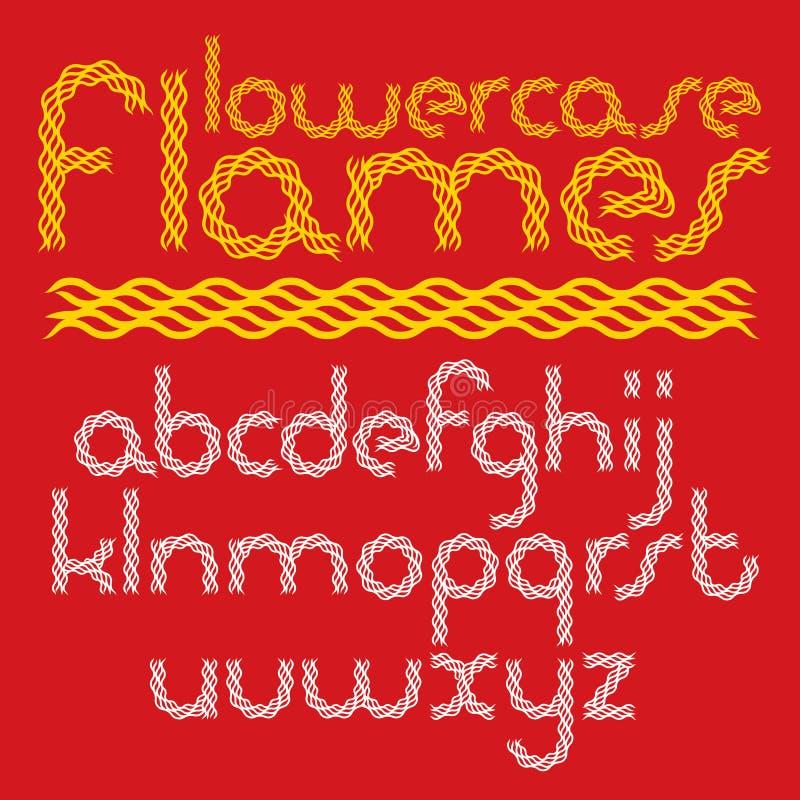 Le vecteur a arrondi les lettres minuscules d'alphabet anglais que la collection a créées utilisant l'enfer ardemment illustration de vecteur