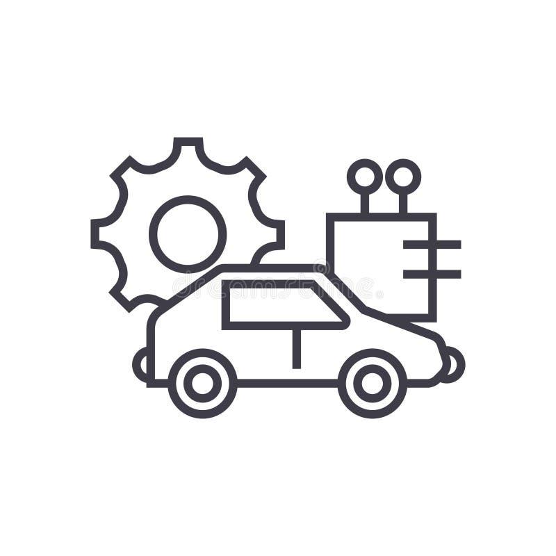 Le vecteur automatisé de concept de voiture rayent légèrement l'icône illustration libre de droits