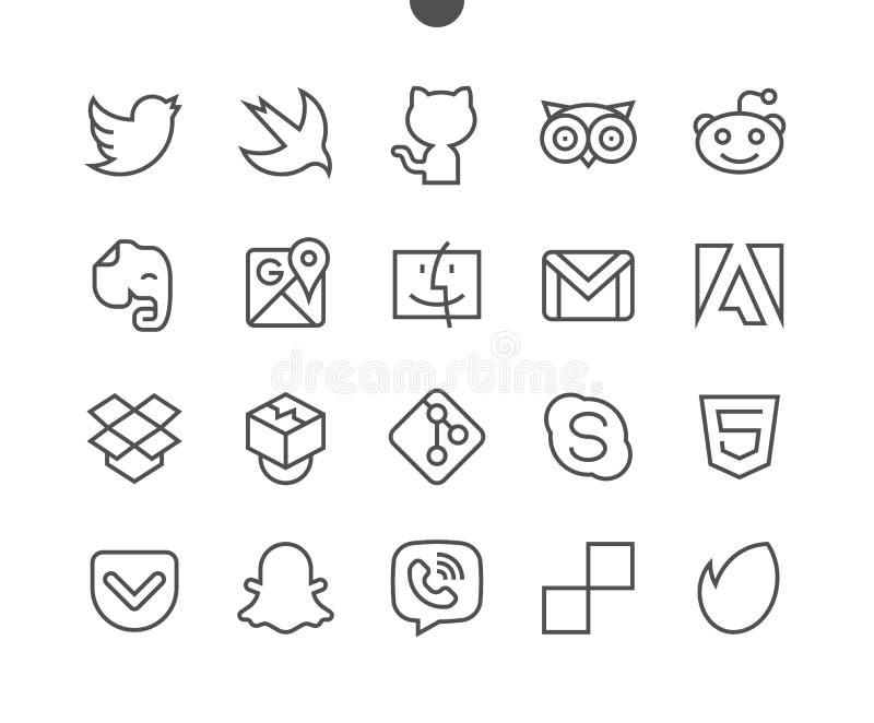 Le vecteur Bien-ouvré parfait de pixel des logos UI rayent légèrement les icônes 48x48 prêtes pour la grille 24x24 pour des graph illustration stock