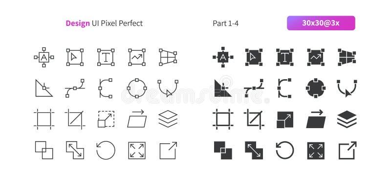Le vecteur Bien-ouvré parfait de pixel de la conception graphique UI rayent légèrement et la grille 3x solide des icônes 30 pour  illustration libre de droits