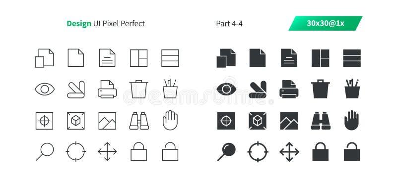 Le vecteur Bien-ouvré parfait de pixel de la conception graphique UI rayent légèrement et la grille 1x solide des icônes 30 pour  illustration libre de droits