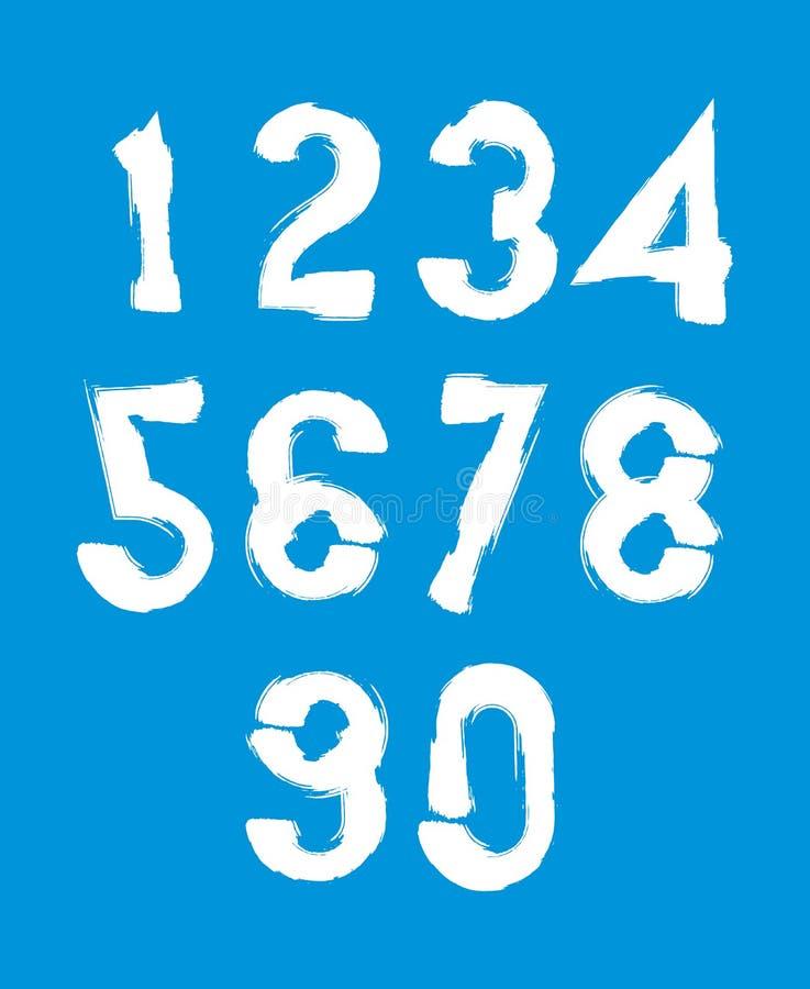 Le vecteur blanc manuscrit numérote, des nombres élégants réglés dessinés avec illustration libre de droits