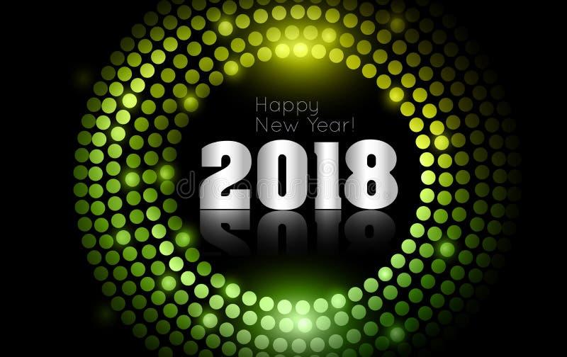 Le vecteur - bonne année 2018 - disco d'or allume le cadre photo libre de droits