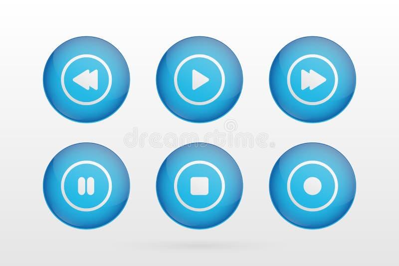 Le vecteur boutonne des symboles Jouez, arrêtez, rebobinez, en avant, pause, signes de cercle de disque Icônes d'illustration pou illustration libre de droits