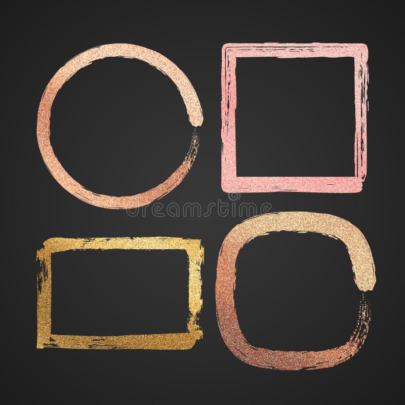 Le vecteur brillant d'or abstrait et en métal rose encadrent des cadres de peinture d'isolement illustration libre de droits