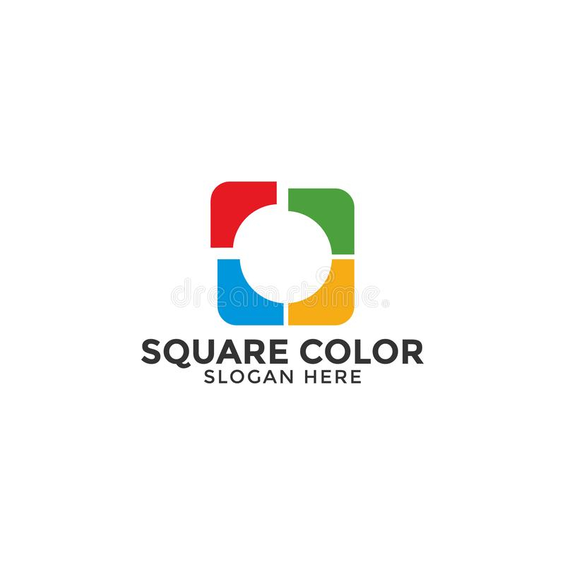 Le vecteur carré de calibre de conception de logo de couleur a isolé illustration stock