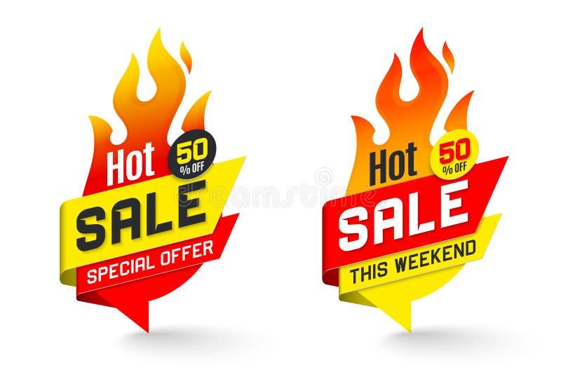 Le vecteur chaud d'affaire d'offre des prix de vente marque le desig d'autocollants de calibres illustration libre de droits