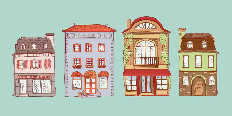 Le vecteur a coloré l'ensemble d'illustration de croquis de découpe des maisons d'Européen de vintage Boutiques de kit et cafés d illustration de vecteur