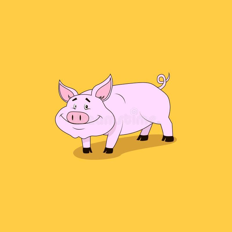 Le vecteur a coloré l'illustration plate de bande dessinée d'art d'un porc rose de sourire illustration stock