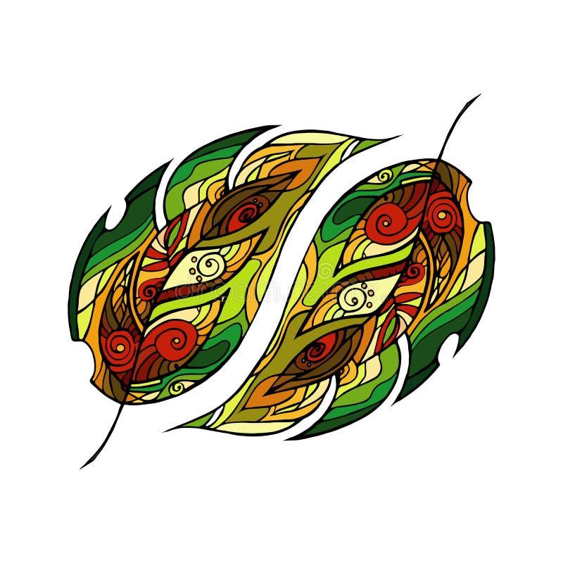 Le vecteur a coloré le fond de feuilles de forêt Ornement tiré par la main avec des feuilles de forêt illustration libre de droits